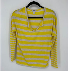 Old Navy M yellow stripe long sleeve v neck